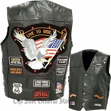 Buy LED Light Motorcycle Safety Mens Black Leather Vest Waistcoat with 14 Patches