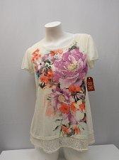 Buy Womens Knit Top SIZE M Floral Tusk Crochet Lace Trim Embellished