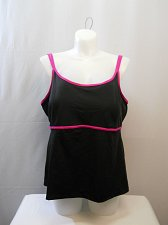 Buy PLUS SIZE 26 Women Tankini Swim Top BEACH BELLE Black Pink Double Lingerie Strap