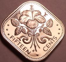 Buy Rare Proof Bahamas 1976 15 Cents~Triangle Coin~Hibiscus~23,000 Minted~Free Ship