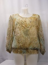 Buy Size PETITES 18 Blouse ALFRED DUNNER Multi Color Paisley Scoop Neck 3/4 Sleeves