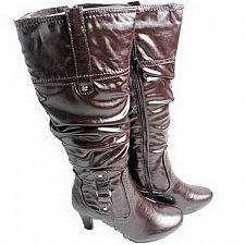 Buy Womens BOOTS Knee High CLARA BARSON Brown Side Zipper Medium Width SIZE 6-8.5