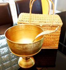 Buy Thai Bowl Tray Pedestal With Ladle Brass Antique Vintage Art Great 3 Pcs Set