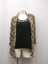 Buy SIZE S Womens Layered Top JM COLLECTION Beaded Gold Black 3/4 Sleeves Evening