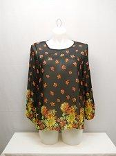 Buy Womens Tunic Top Sheer Black Floral Chiffon Long Sleeve PLUS SIZE XL 2XL 3XL