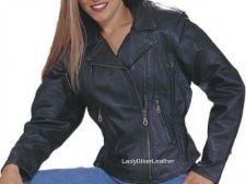 Buy LADIES BIKER Black BRAIDED Premium Leather MOTORCYCLE Jacket CINCHED Waist STUDS