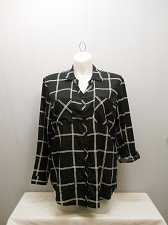 Buy Womens Button Down Shirt SIZE 2XL FADED GLORY Black Plaid Collared Long Sleev