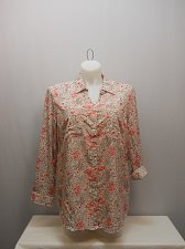 Buy Womens Button Down Shirt SIZE 2XL FADED GLORY Floral Collared Long Tab Sleeve