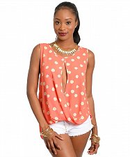 Buy SIZE S M Womens Top Misses MULATA Coral Floral Split Front Shirttail Sleeveless
