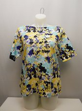 Buy PLUS SIZE 1X Womens Knit Top CHARTER CLUB Blue Floral Short Sleeve Boat Neck