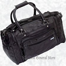 "Buy 17"" Black Leather Tote Travel Bag Duffle Carry On Gym Sport Luggage Overnight"