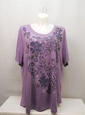 Buy PLUS SIZE 5X Women Knit Top Purple Animal Print JMS Scoop Neck Short Sleeves