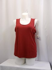 Buy Womens Tank Top JM COLLECTION SIZE XL Solid Red Sleeveless Scoop Neck