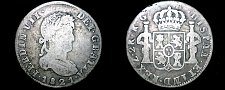 Buy 1821-RG Mexican War of Independence Zacatecas 2 Reales World Silver Coin -Mexico