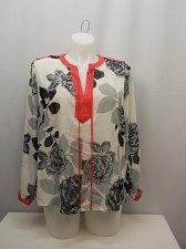 Buy Women Sheer Top PLUS SIZE 1X Multi Floral Y-Neck Long Sleeves Tab Shoulders