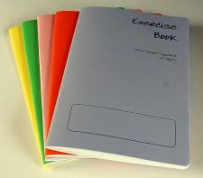 Buy 5 x A5 - 10mm squared Exercise / Practice books assorted coloured cover 40 pages