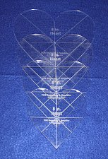 """Buy 4 piece Heart Set w/guidelines 1/8"""" Acrylic-5,6,7,8 - Quilting/Sewing Template"""