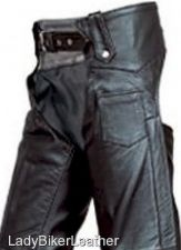 Buy Mens LADIES BIKER Heavy Duty SOFT Black Leather MOTORCYCLE CHAPS Hip Pocket