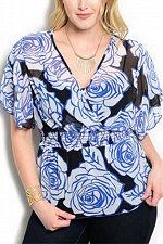 Buy PLUS SIZE 1XL 2XL Womens Sheer Wrap Peplum Top VIVA YOU Blue Floral Flutter Slee