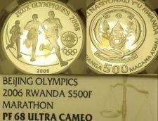 Buy Rare Proof Rwanda 2006 500 Francs NGC PF-68 Ultra Cameo~Highest Graded~Marathon