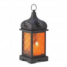 Buy S1004U - Sunset Temple Moroccan Style Amber Pressed Glass Candle Lantern