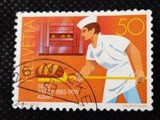 Buy Switzerland 1V USED STAMP 1985 Mi1301 Baker baking bread