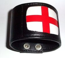Buy Mens Leather Wristband England, St. Georges Flag