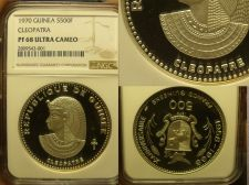 Buy Guinea 1970 500 Francs~NGC PF-68 ULTRA CAMEO~Cleopatra~Highest Graded~Rare~Fr/Sh
