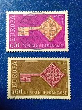 Buy Europa France Set of 2 Stamp 1968 Used key with the CEPT logo in handle
