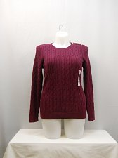 Buy PLUS SIZE 1X Cable Sweater CHARTER CLUB Berry Long Sleeves Crewneck Medium Knit