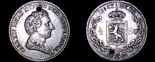 Buy 1844 Norway 1/2 Specie Daler World Silver Coin - Carl XIV - Holed