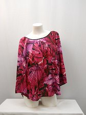 Buy Women Top Size M ZAC RACHEL Violet Tropical Long Bell Sleeve Crisscross Back