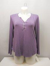 Buy SIZE XL Women Sleep Shirt ALFANI Solid Lilac 3 Button Henley V-Neck Long Sleeves