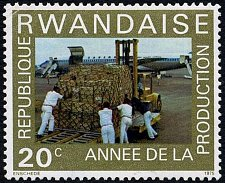 Buy Rwanda 1972 Stamp Fork-lift truck on airfield Coffee industry