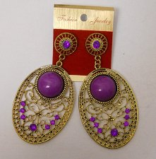 Buy Women Fashion Drop Dangle Earrings Gold Ovals Purple Rhinestones FASHION JEWELRY