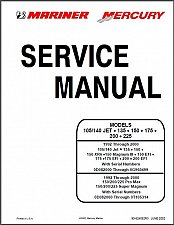 Buy 92-00 Mercury / Mariner 105/140 JET 135 150 175 200 225 Service Manual on a CD