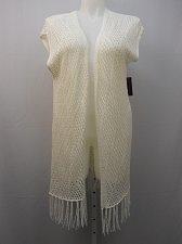 Buy Womens Cardigan Wrap Boho SIZE XL NO BOUNDARIES Ivory Fringed Kabuki Sleeves