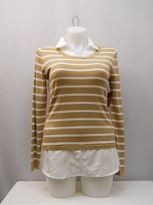 Buy Women Sweater Striped SIZE L Layered Twofer Collared Pullover Long Sleeves