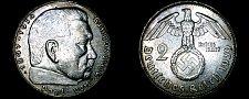 Buy 1939-A German 2 Reichsmark World Silver Coin - Germany 3rd Reich