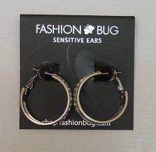 Buy Women Fashion Hoop Earrings Silver Tones Rhinestones FAHION BUG Leverback