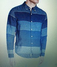 Buy Lucky Brand 617089404201 Men's Indigo Blanket-Stripe Linen Shirt 2XL