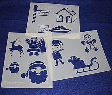 Buy 3 Pc Set - Santa Stencils Mylar 14 Mil Painting/Crafts/Stencil/Template