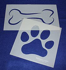 Buy 2 Pc Set -Mylar 14 Mil Dog Bone Paw Print ELG Stencils Painting/Crafts/Stencil