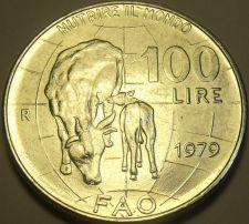 Buy Large Gem Unc Italy 1979 F.A.O. 100 Lire~Cow Nursing Calf~Free Shipping