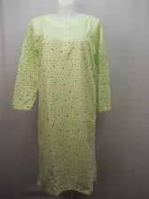 Buy SIZE 2XL Women Night Gown Green Heart Print Button Scoop Neck Long Sleeves Pullo