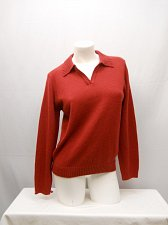 Buy Womens Sweater SIZE M Solid Red Long Sleeve Collared Neck Career