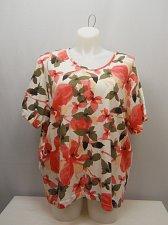 Buy PLUS SIZE 4X Women Knit Top BOCA BAY Multi Color Floral Scoop Neck Short Sleeves