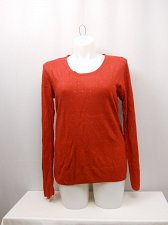 Buy SIZE XL Womens Embellished Sweater DEBBIE MORGAN Solid Red Long Sleeve Scoop Nec