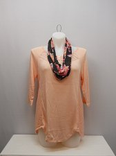 Buy PLUS SIZE 1X Womens Knit Top NO BOUNDARIES Solid Blush Floral Scarf ¾ Sleeves