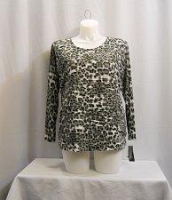 Buy PLUS SIZE 1X Women Knit Top INC Leopard Long Sleeves Scoop Neck Keyhole Back